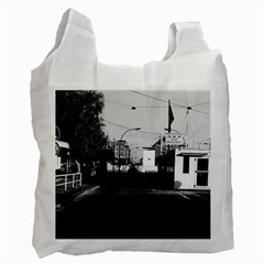 Vintage Germany Border posts East  West Berlin 1970 Twin-sided Reusable Shopping Bag