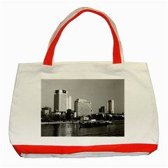 Vintage Germany Frankfurt Main river 1970 Red Tote Bag