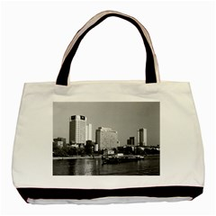 Vintage Germany Frankfurt Main River 1970 Twin Sided Black Tote Bag
