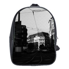 Vintage Germany Frankfurt City street 1970 Large School Backpack