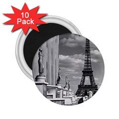 Vintage France Paris Eiffel tour Chaillot palace 1970 10 Pack Regular Magnet (Round)