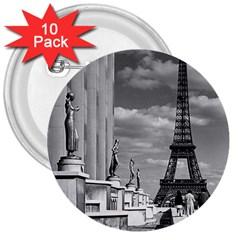 Vintage France Paris Eiffel tour Chaillot palace 1970 10 Pack Large Button (Round)