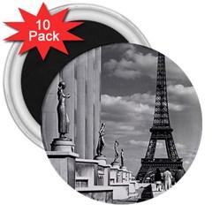 Vintage France Paris Eiffel tour Chaillot palace 1970 10 Pack Large Magnet (Round)