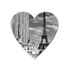 Vintage France Paris Eiffel Tour Chaillot Palace 1970 Large Sticker Magnet (heart)