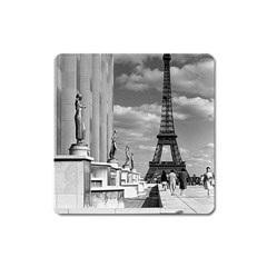 Vintage France Paris Eiffel Tour Chaillot Palace 1970 Large Sticker Magnet (square)