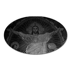 Vintage France Paris Sacre Coeur Basilica dome Jesus Large Sticker Magnet (Oval)