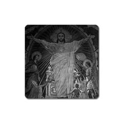Vintage France Paris Sacre Coeur Basilica dome Jesus Large Sticker Magnet (Square)