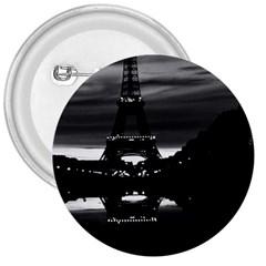 Vintage France Paris Eiffel Tower Reflection 1970 Large Button (round)