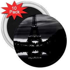 Vintage France Paris Eiffel Tower Reflection 1970 10 Pack Large Magnet (round)