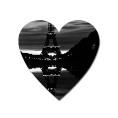 Vintage France Paris Eiffel Tower Reflection 1970 Large Sticker Magnet (heart)