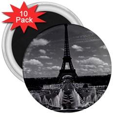 Vintage France Paris Fontain Chaillot Tour Eiffel 1970 10 Pack Large Magnet (Round)