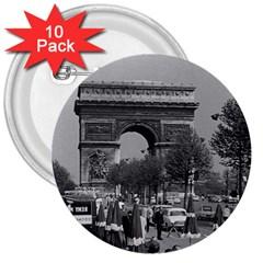 Vintage France Paris Triumphal arch 1970 10 Pack Large Button (Round)