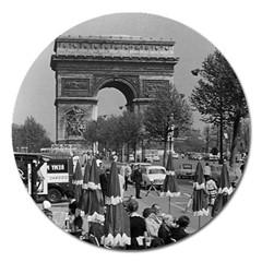 Vintage France Paris Triumphal Arch 1970 Extra Large Sticker Magnet (round)