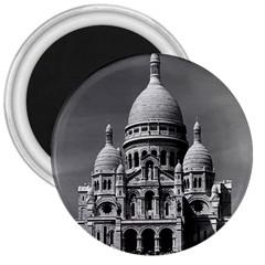 Vintage France Paris The Sacre Coeur Basilica 1970 Large Magnet (round)