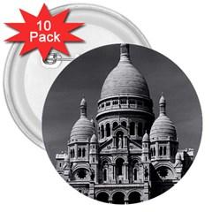 Vintage France Paris The Sacre Coeur Basilica 1970 10 Pack Large Button (Round)