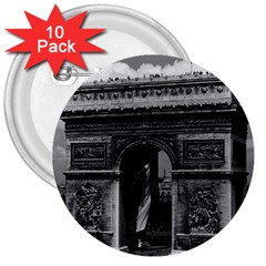 Vintage France Paris Triumphal arch  Place de l Etoile 10 Pack Large Button (Round)