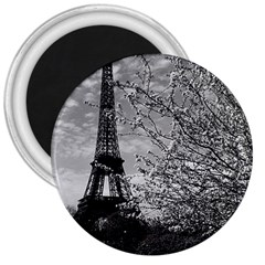 Vintage France Paris Eiffel tour 1970 Large Magnet (Round)