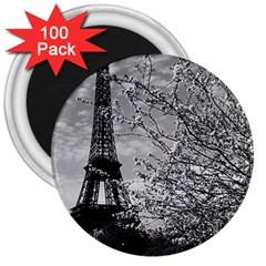 Vintage France Paris Eiffel Tour 1970 100 Pack Large Magnet (round)