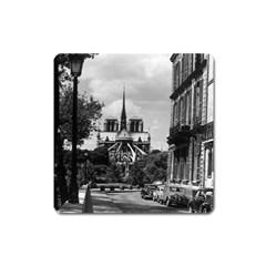 Vintage France Paris notre dame saint louis island 1970 Large Sticker Magnet (Square)