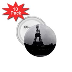 Vintage France Paris Eiffel tour  Seine at dusk 1970 10 Pack Small Button (Round)