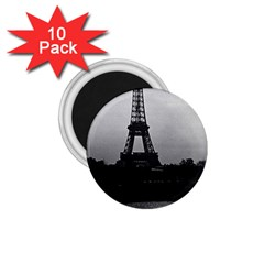 Vintage France Paris Eiffel Tour  Seine At Dusk 1970 10 Pack Small Magnet (round)