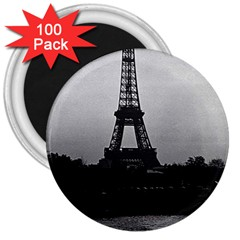 Vintage France Paris Eiffel tour  Seine at dusk 1970 100 Pack Large Magnet (Round)