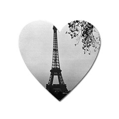 Vintage France Paris Eiffel tour  Seine at dusk 1970 Large Sticker Magnet (Heart)