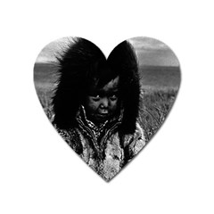 Vintage USA Alaska eskimo boy 1970 Large Sticker Magnet (Heart)