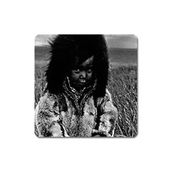 Vintage USA Alaska eskimo boy 1970 Large Sticker Magnet (Square)