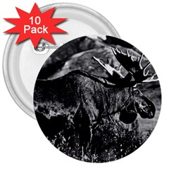 Vintage Usa Alaska Bull Moose 1970 10 Pack Large Button (round)