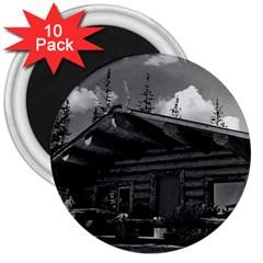 Vintage USA Alaska Modern alaskan log cabin 1970 10 Pack Large Magnet (Round)