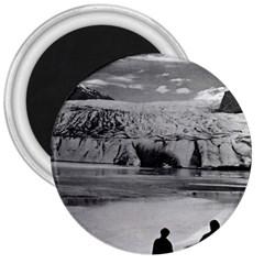 Vintage USA Alaska Mendenhall glacier Juneau 1970 Large Magnet (Round)