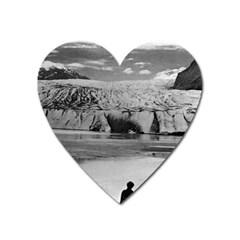 Vintage USA Alaska Mendenhall glacier Juneau 1970 Large Sticker Magnet (Heart)