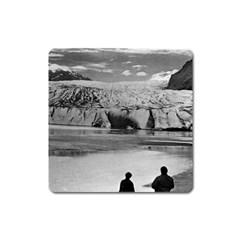 Vintage USA Alaska Mendenhall glacier Juneau 1970 Large Sticker Magnet (Square)