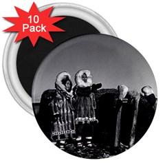 Vintage Usa Fur Clad Eskimos Of Arctic Alaska Bu Sod Igloo 10 Pack Large Magnet (round)