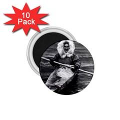 Vintage USA Alaska eskimo and his kayak 1970 10 Pack Small Magnet (Round)