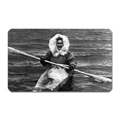 Vintage Usa Alaska Eskimo And His Kayak 1970 Large Sticker Magnet (rectangle)