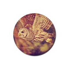 Barred Owl 4 Pack Rubber Drinks Coaster (Round)