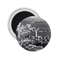 Vintage Principality of Monaco  the port of Monte Carlo Regular Magnet (Round)