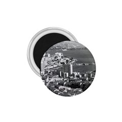 Vintage Principality of Monaco  the port of Monte Carlo Small Magnet (Round)