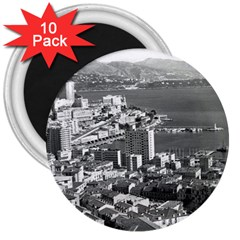Vintage Principality of Monaco  the port of Monte Carlo 10 Pack Large Magnet (Round)