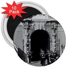 Vintage Principality of Monaco palace gate and guard 10 Pack Large Magnet (Round)