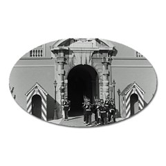 Vintage Principality of Monaco palace gate and guard Large Sticker Magnet (Oval)