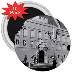 Vintage Principality of Monaco princely palace 1970 10 Pack Large Magnet (Round)