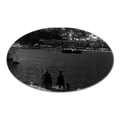 Vintage Principality of Monaco The port of Monaco 1970 Large Sticker Magnet (Oval)