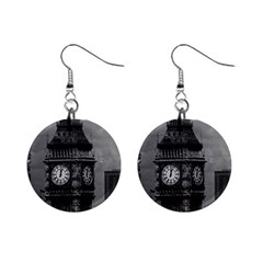 Vintage Uk England London The Post Office Tower Big Ben Mini Button Earrings