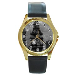 Vintage UK England London The post office tower Big ben Black Leather Gold Rim Watch (Round)