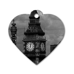 Vintage UK England London The post office tower Big ben Single-sided Dog Tag (Heart)