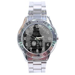 Vintage UK England London The post office tower Big ben Stainless Steel Analogue Watch (Round)