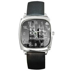Vintage UK England London Westminster Abbey 1970 Black Leather Watch (Square)